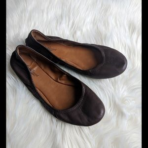Lucky Brand chocolate brown leather flats 10